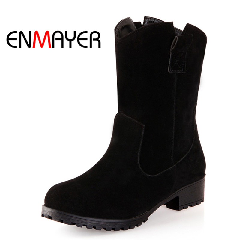ENMAYER Flock Mid-Calf Women Boots Round Toe Sexy High Heel Women Snow Boots Square Heel Women's Shoes Black Beige Plus Size double buckle cross straps mid calf boots