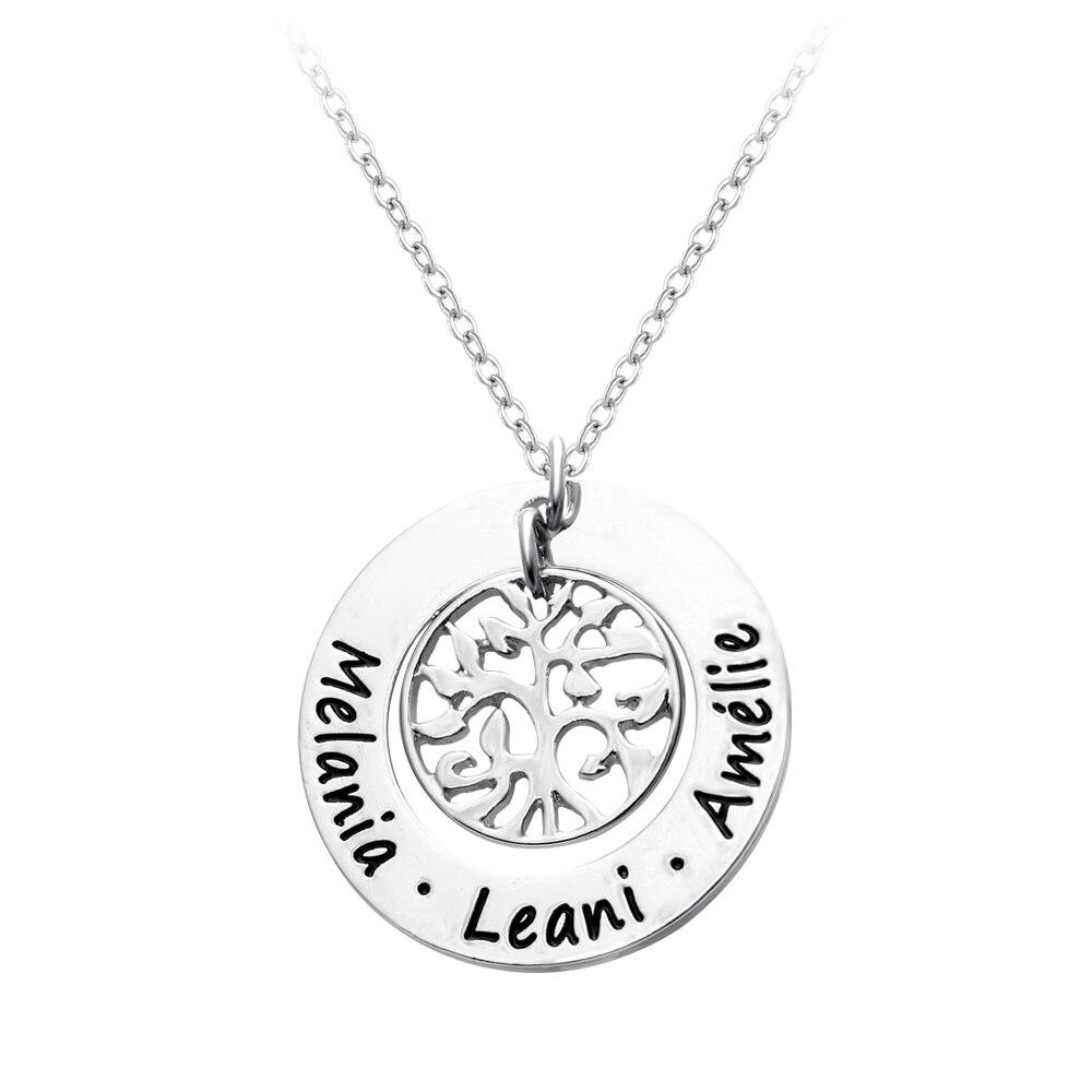 Personnalisé gravé noms famille arbre pendentif collier, personnalisé mère collier, rond monogramme pendentif colliers arbre de bijoux