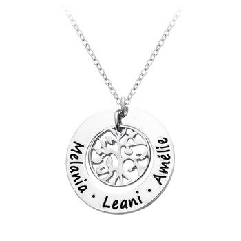 Senfai Personalized Custom Names Pendant Necklace Family Choker Round Life Tree Sisters Names Necklaces Fashion Jewelry