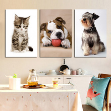Cartoon Cat and Dog Posters and Prints Animal Canvas Painting Scandinavian Nordic Style Art Modern Baby Kids Room Home Decor