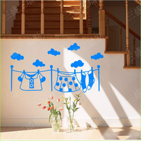 Clothes Cloud Wall Stickers Decorative Decals For Glass Home Bedroom Decor Floor Decoration Bed Headboard Wall
