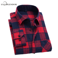 Men Flannel Plaid Shirt Cotton 2017 Spring Autumn Casual Long Sleeve Shirt Soft Comfort Slim Fit