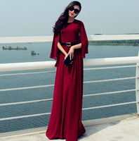 2015 New Autumn Maxi Women Cloak Chiffon Dress Long Maxi Vintage To The Floor Plus Overall