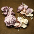 Handmade Romantic Floral Hair Comb Set Pearl Wedding Hair Jewelry Accessories Bridal Hair Combs Tiara