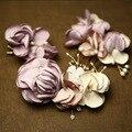 Hecho a mano Romántica Floral Peine Del Pelo Conjunto de Perlas Pelo de La Boda Accesorios de La Joyería Nupcial Del Pelo Peines Tiara