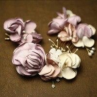 Handmade Romantic Flower Wedding Headpiece Pearl Bridal Hair Comb Clip Set Accessories Women Headpiece