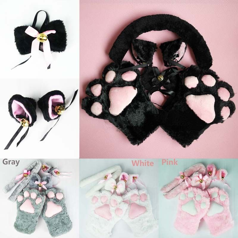 Cute Anime Costume Cat Ears Plush Paw Claw Gloves Cat Tail With Bell Bow-tie 1 Set Women Stage Show 4pcs/1set
