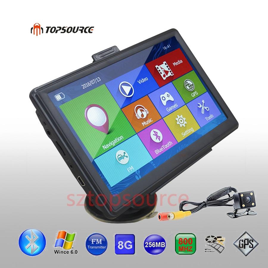 TOPSOURCE 7 Inch HD Car GPS Navigation 8GB Windows CE 6.0 Capacitive Screen GPS Navigator Rearview Camera sat nav Free Map