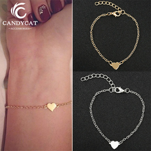 Minimalist Gold Silver Color Heart Chain Bracelets Bangles For Women Friendship Love Charm Jewelry Wholesale