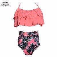 Nanke Kongque New 2018 Bikini Set Ruffle Double Swimwears Sexy Women S Swimwear Off Shoulder High