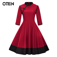 OTEN Chinese Style Stand Collar 3/4 Sleeve Contrast color Knot Button Retro Vintage Rockabilly pin up dress plus size 4xl robe