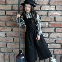Девушки комбинезоны Осенние детские брюки хлопок малыш Съемная Широкую ногу брюки моды одежда