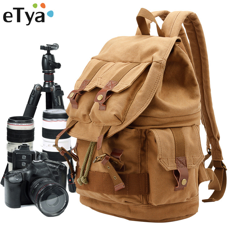 eTya Brand Canvas Mens Travel Bag Weekend Bag Fashion Large Capacity Camera Bag Backpacks Multifunction Men Women Shoulder Bag
