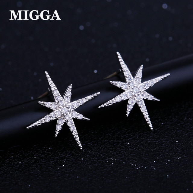 Migga Delicate Cubic Zirconia Star Earrings Fashion Women Jewelry White Gold Color Crystal Stud