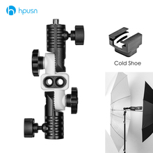 HPUSN N1 Universal Metal Cold Shoe Mount Flash Hot Shoe Adapter for Trigger Double Umbrella Holder Swivel Light Stand Bracket universal swivel flash stand holder for lamp and camera
