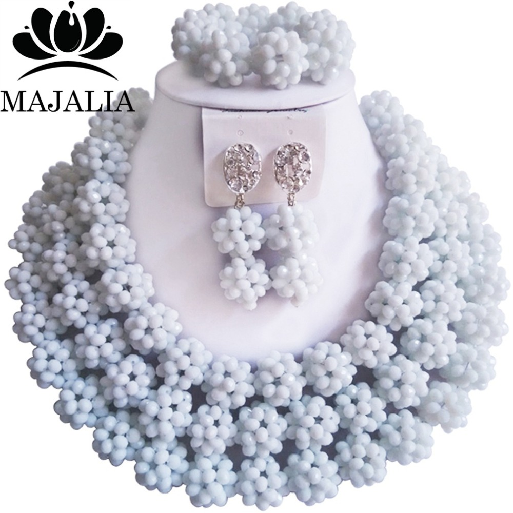 купить Fashion african wedding beads white nigerian wedding african beads jewelry set Crystal Free shipping Majalia-315 по цене 3501.87 рублей