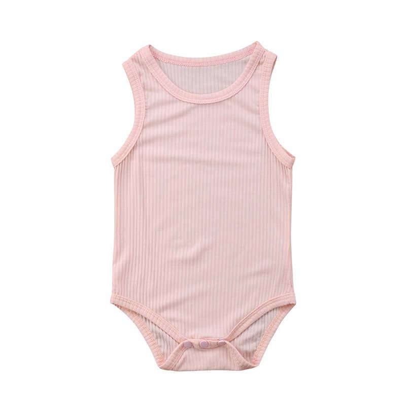 Летние хлопковые боди для девочек; хлопчатобумажный Боди без рукавов для новорожденных девочек и мальчиков; комбинезон; детская одежда из одного предмета