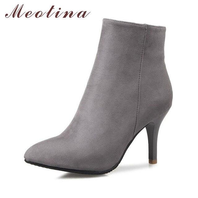 Meotina デザイン女性アンクルブーツハイヒールブーツグレースポインテッドトゥシンハイヒールヒール靴の女性のブーツグレー赤ビッグサイズ 12 46