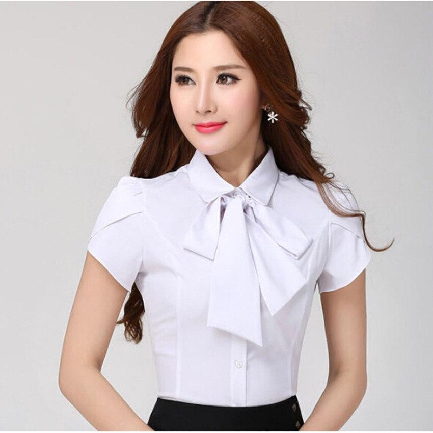 Feminino plus size XS a 4XL enviado gravata borboleta camisa ferramental  formal slim manga curta moda blusa mulheres trabalho desgaste do verão  topos ... 064708b6cc31a