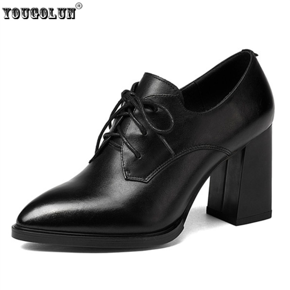 YOUGOLUN women genuine cow leather pumps woman thick high heels pointed toe shoes ladies fashion 2018 spring autumn lace shoes