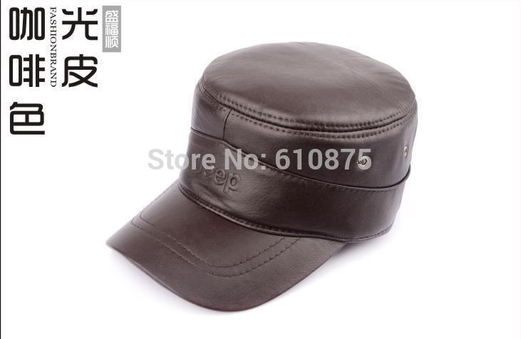Мужской на зиму и осень плюс размер натуральная кожа Кадет Военный шляпа бейсбол утка язык Повседневная Кепка
