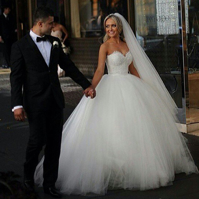 2015 Sweetheart Lace Puffy Princess Wedding Dresses Elegant Bridal Dress Appliques Vestidos De Noiva Princesa