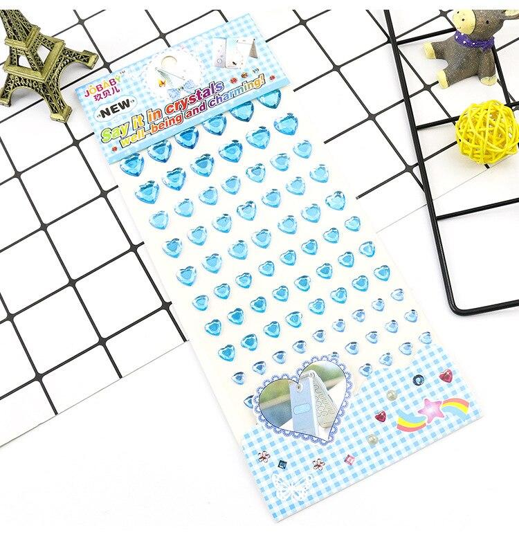Детские игрушки наклейка в форме сердца DIY Наклейка мобильного искусства Кристалл бриллиант Стразы самоклеющиеся Скрапбукинг Стикеры s GYH - Цвет: Sky Blue