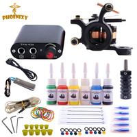 Complete Tattoo Machine Kit Set 1 Coils Guns 6 Colors Black Pigment Sets Power Tattoo Beginner
