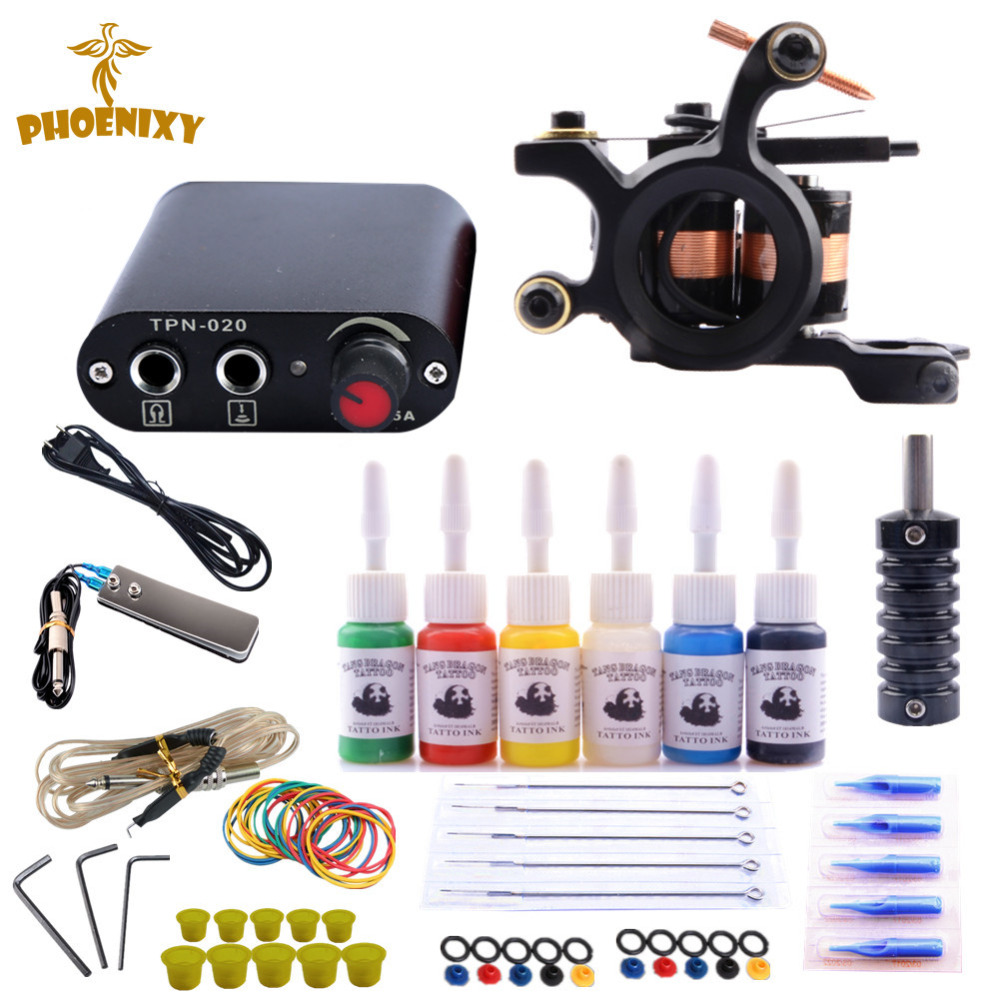 complete-tattoo-machine-kit-set-1-coils-guns-6-colors-black-pigment-sets-power-tattoo-beginner-grips-kits-permanent-makeup