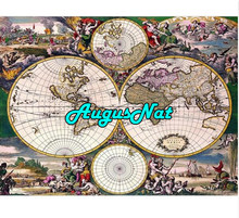 vintage diamond painting world map daimond embroidery full square diamant painting pearl puzzle picture diamant stickers decor(China)
