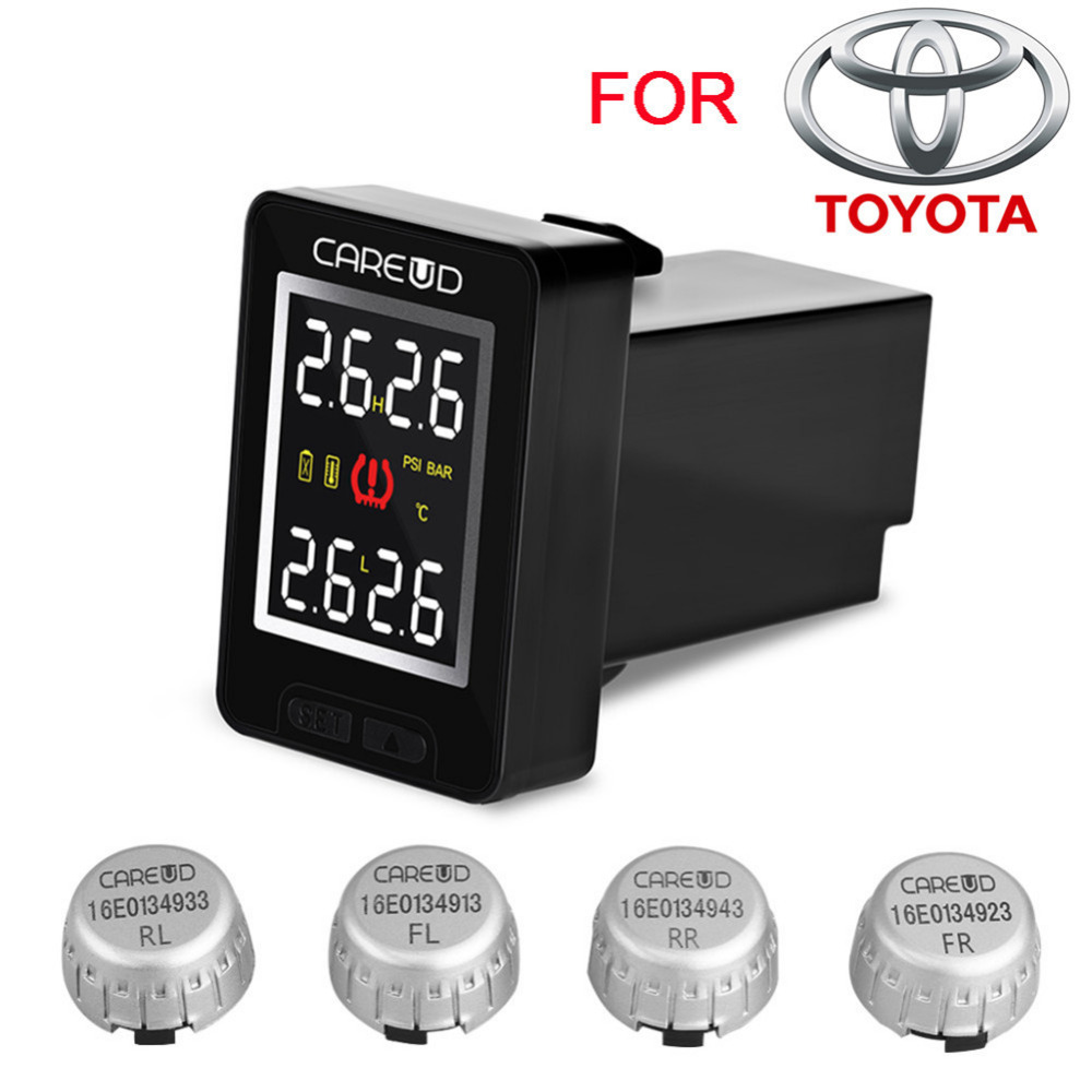 U912 TPMS Car Tire Pressure Wireless Monitoring System 4 External Sensors and LCD Display Embedded Monitor for Toyota careud u912 tpms car tire pressure wireless monitoring system 4 external sensors and lcd display embedded monitor for toyota