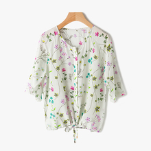 Women's print silk shirt 2017 summer lady blouse top drawstring waist