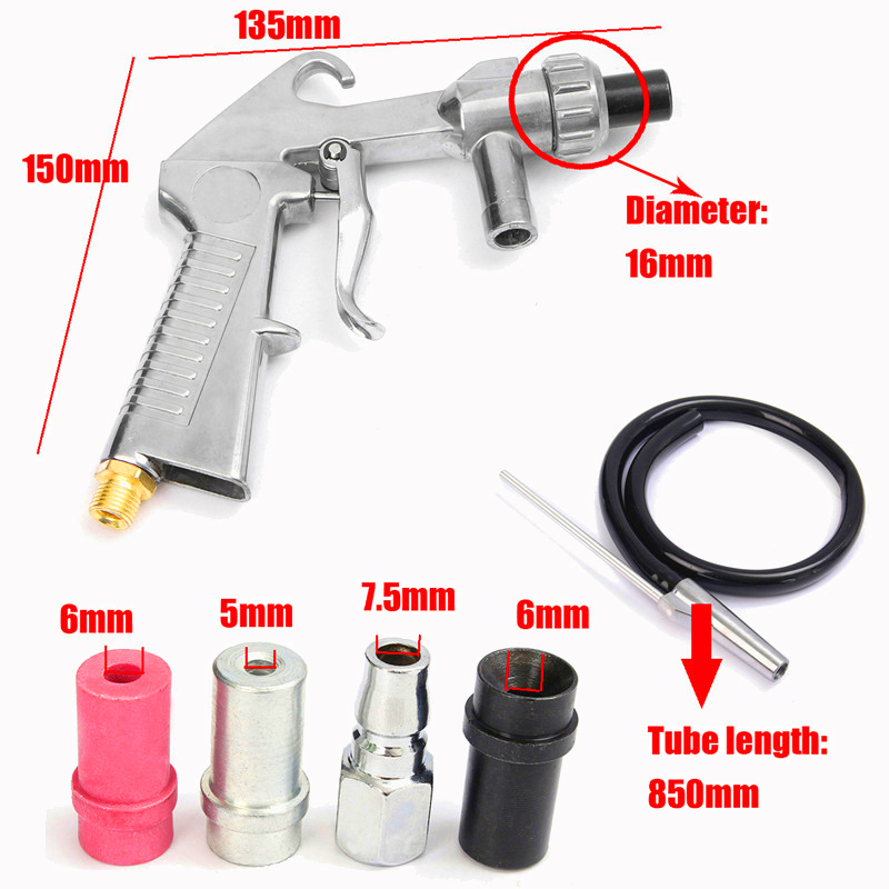 Image 4 - Sandblasting Gun 7Pcs Abrasive Air Sand Blasting Gun Kit Sandblasting Machine Nozzle Tube Rust Remove for Sandblast Cabinets2019-in Spray Guns from Tools on