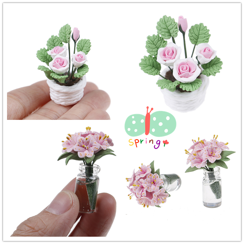 1//12 Scale Dollhouse Accessories floral Pink flower arrangement Hand paper box