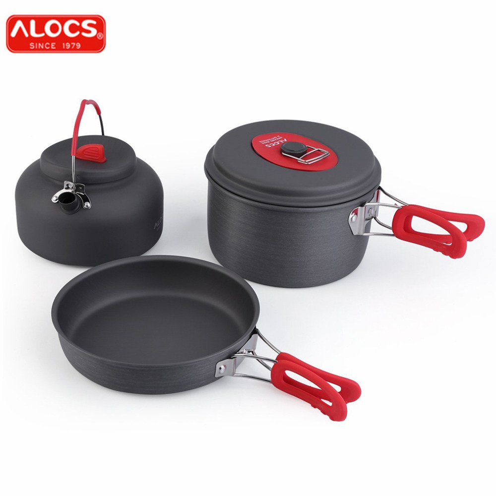 ALOCS Non-Stick Aluminum Camping Cookware Ultralight Outdoor Cooking Picnic Set Camp Pot Pan Kettle Dishcloth For 2-3 People evernew eca412 ti non stick pot m set