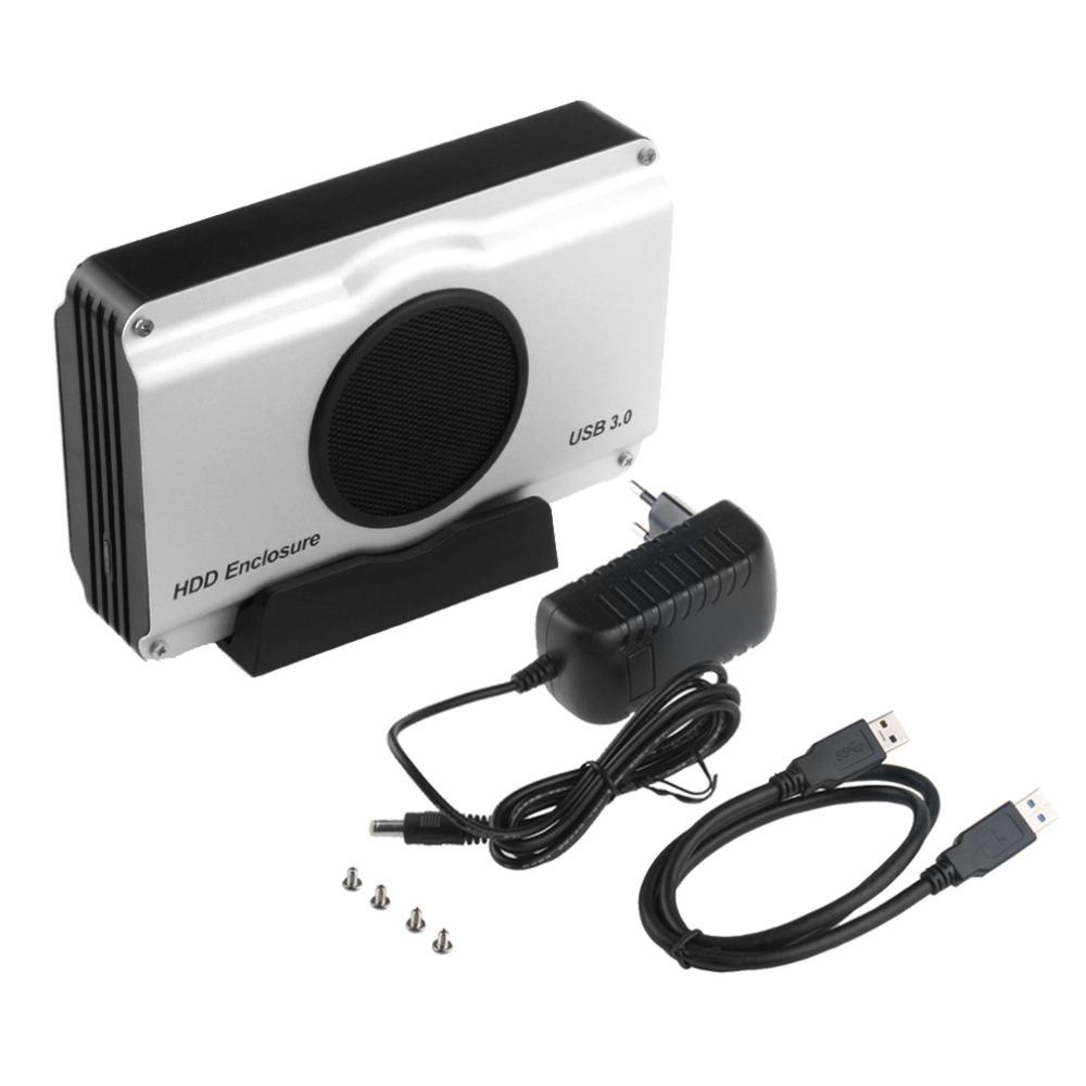Prix pour US/EU Plug 3.5 pouce 393U3 Boîtier En Aluminium 5 Gbps SuperSpeed USB 3.0 à SATA HDD Box Boîtier Interne Ventilateur de Refroidissement En stock!