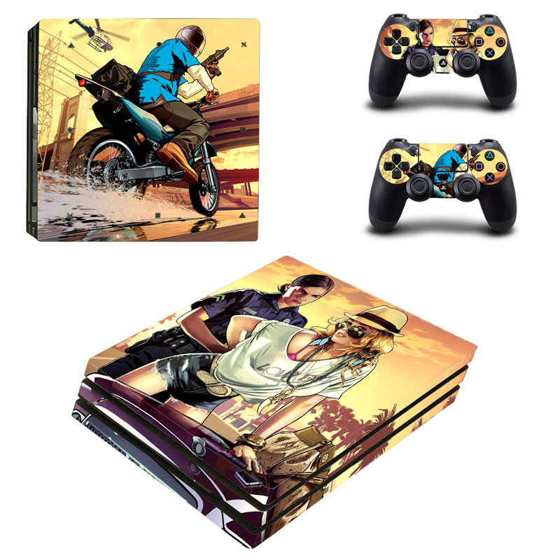 PS4 Pro Grand Theft Auto V Skin Sticker Decal For Playstation 4 Pro Console + Controllers