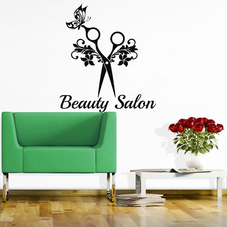 barber shop sticker name scissors hair salon decal neutral haircut poster vinyl wall art decals. Black Bedroom Furniture Sets. Home Design Ideas