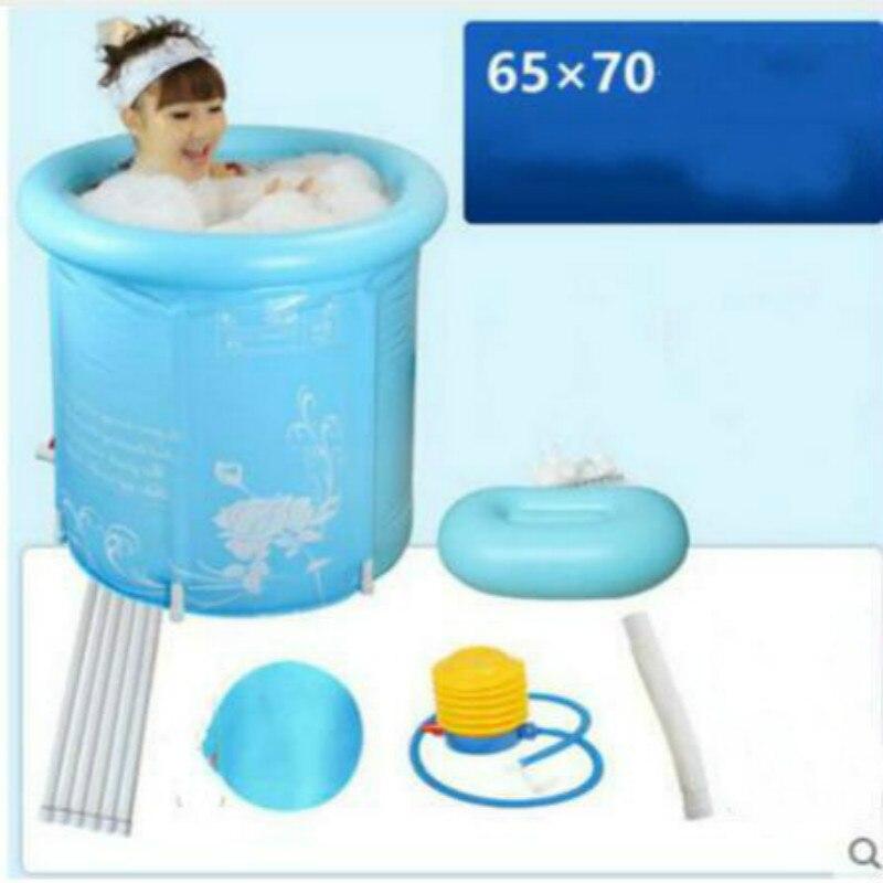 Baignoire en plastique gonflable se pliante épaisse de 65x70 cm sans couvercle baignoire adulte de PVC de piscine d'enfants baignoire écologique d'été d'hiver