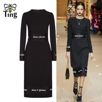 Tingfly 2019 New Spring Designer Runway Letter Embroidery Black Dress Elegant Party Dresses Women Office Work Knee Length Dress