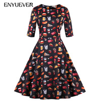 Enyuever Vintage Dresses 50s 60s Swing Casual Food Print Robe Rockabilly Party Dress Plus Size Women