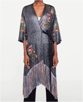 WISHBOP 2019 Summer Fashion Floral EMBROIDERED AND SEQUINNED wrap kimono dress With tied belt V neck