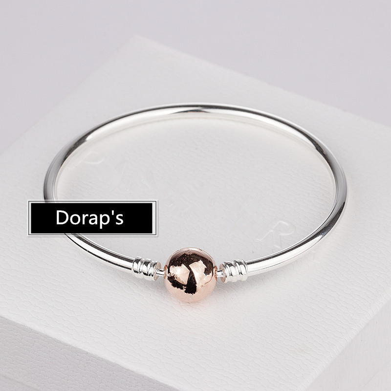 Perfect logo Charms Engraved S925 Silver Bangle Rose Bracelet DIY Making Jewelry Rose Clasp Bracelets women 1pz