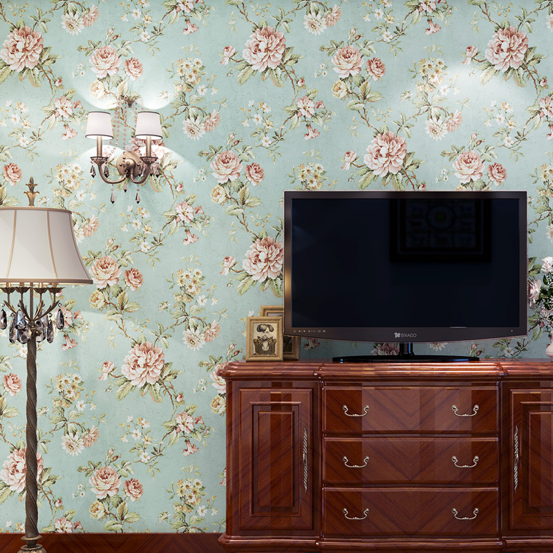 Bedroom living room television background wall wallpaper American village retro large flower wallpaper roll tapety Beibehang beibehang classic fashion retro large