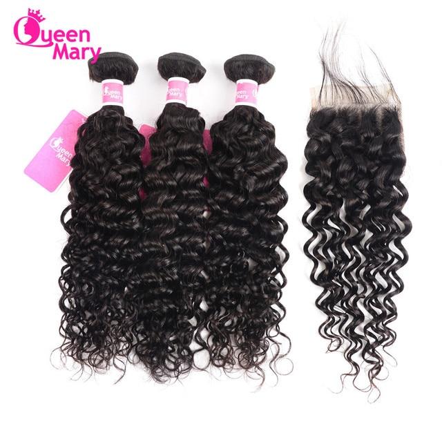 $ US $53.54 Brazilian Water Wave Bundles With Closure 100% Human Hair Weave Bundles With Closure Queen Mary 3 Bundles With Closure Non Remy