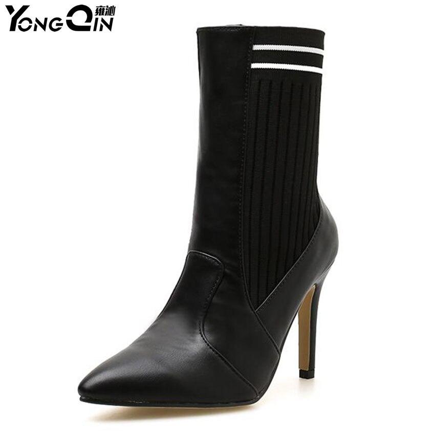 Сапоги на высоком каблуке Осенне-зимняя Дамская обувь модные ботильоны острый носок Женские ботинки