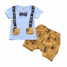 Summer Children Boys Girls Clothes Kids Cotton Clothing Infant Suit Toddler Bow Tie T-Shirt Pants 2pcs/set Baby Casual Tracksuit цена 2017
