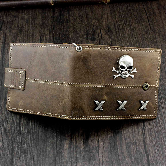 GENUINE LEATHER VINTAGE SKULL CROSSBONES WALLET