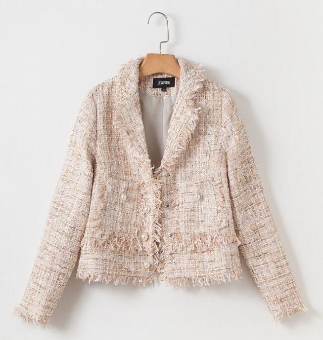 2018 Tweed Apricot Perle Manteau Gland Chan Classique Élégant Couture Vintage Lady Veste Office Automne Hiver Abricot Haute IPOrIqa