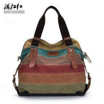 Colorful Women Canvas Shoulder Bag Large Satchel Handbags Ladies Patchwork Crossbody Messenger Bag Women Casual Tote Bag 1196